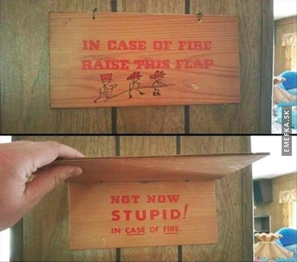 In case of fire raise this flap
